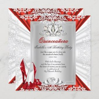 Glitter Quinceanera 15th Birthday Party Red Heels Invitation