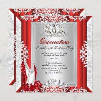 Glitter Quinceanera 15th Birthday Party Red Shoes Invitation