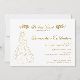 Gold Beauty and the Beast Quinceañera Invitation