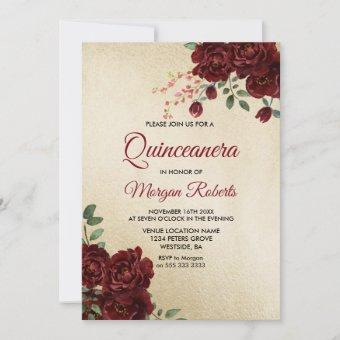 Gold Burgundy Red Rose Floral Quinceanera Invite
