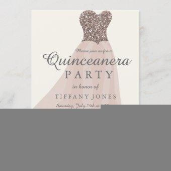 Gold Champagne Shimmer Glitter Gown Quinceanera Invitation