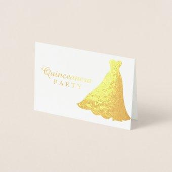 Gold Foil Gold Gown Dress Quinceanera Invitation