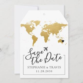 Gold Map Destination Wedding Save the Date Tag