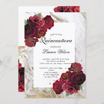 gold marble roses floral  Quinceanera Invitation