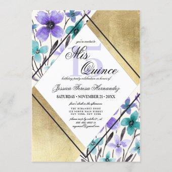Gold Purple Teal Flower Watercolor Mis Quince Invitation