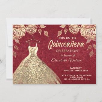 Gold roses sequins gold dress Quinceañera red Invitation