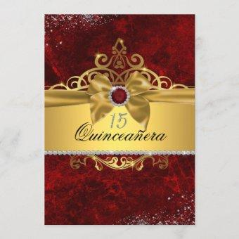 Gold Ruby Red Quinceanera Invite