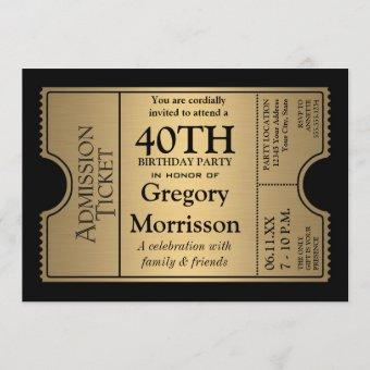 Golden Ticket Style 40th Birthday Party Invite