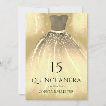Gorgeous Gold Mermaid Dress Quinceanera Party Invitation