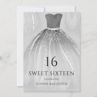 Gorgeous Silver Mermaid Dress Sweet 16 Party Invitation