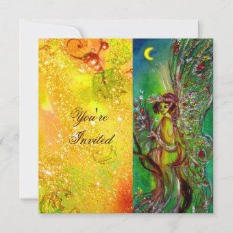 GREEN FAIRY yellow blue red silver Invitation