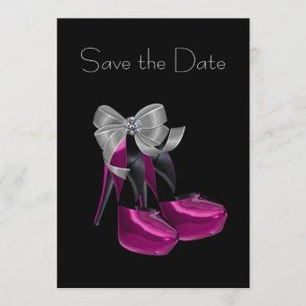 High Heel Shoes Hot Pink Black Save The Date