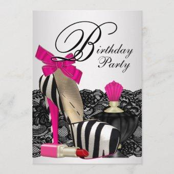 High Heel Shoes Hot Pink Zebra Party Invitation