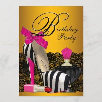 High Heel Shoes Pink and Gold Pink Zebra Party Invitation