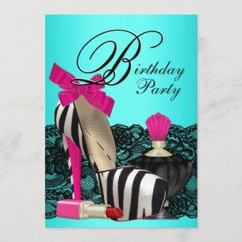 High Heel Shoes Teal Blue and Pink Zebra Party Invitation