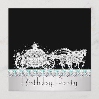 Horse Carriage Teal Blue Princess Birthday Party Invitation