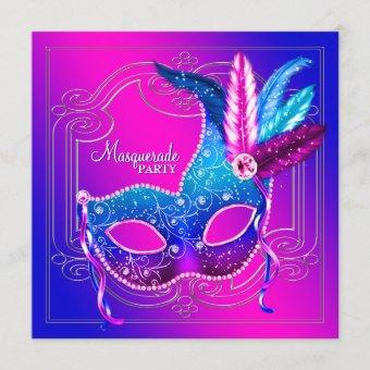 Hot Pink Purple Teal Masquerade Party Invitation