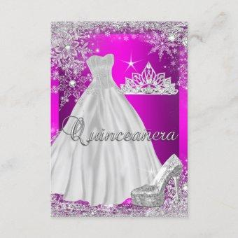 Hot Pink Quinceanera 15th Birthday Party Invitation