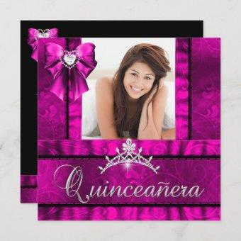 Hot Pink Quinceanera 15th Birthday Party Photo Invitation