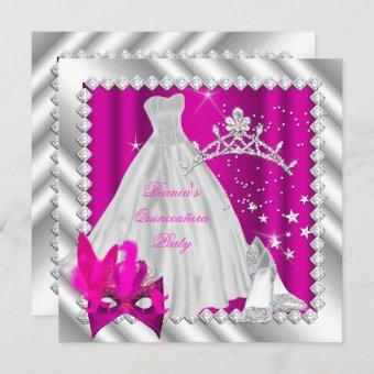 Hot Pink Quinceanera 15th Masquerade Party Invitation