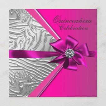 Hot Pink Quinceanera Birthday Party Invitation