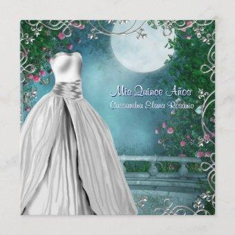 Jade Green Teal Blue Pink Roses Quinceanera Invitation