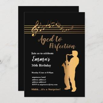 Jazz, Music party invitation, Aged to Perfection Invitation