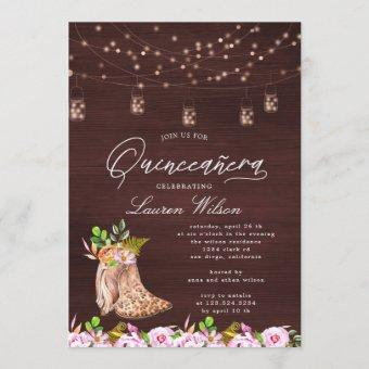 leopard cowboy boots string lights Quinceanera Inv Invitation