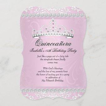 Light Pink Quinceanera 15th Birthday Party Tiara Invitation