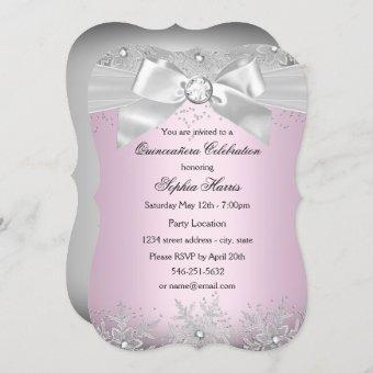 Light Pink Silver Jewel Bow Snowflake Quinceanera Invitation