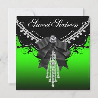 Lime Green Black Sweet Sixteen Party Invitations