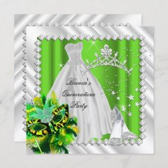 Lime Green Quinceanera 15th Masquerade Party Invitation