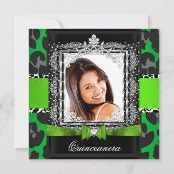 Lime Green Quinceanera 15th Party Photo Invitation