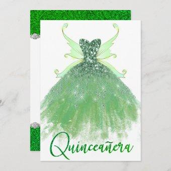 Lime Green Quinceanera Sparkle Gown Pixie Wings Invitation