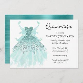 Luxe Fairy Wing Gown | Mint Green Quinceanera Invitation
