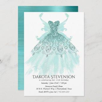Luxe Fairy Wing Gown | Mint Green Turquoise Party Invitation