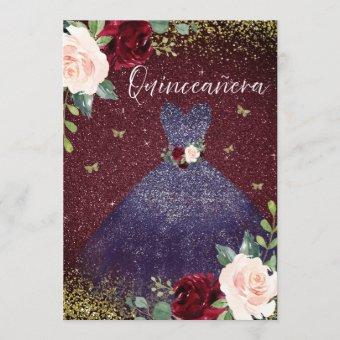Magical Navy Dress Burgundy Red Floral Quinceanera Invitation