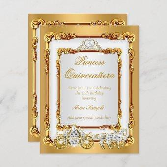 Magical Quinceanera White Gold Horse and Carriage Invitation