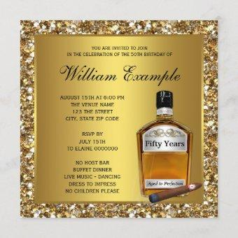 Mans Gold Aged To Perfection 50th Birthday Party Invitation