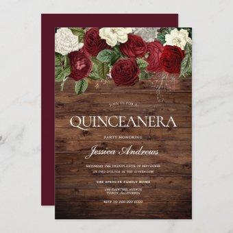 Marsala Burgundy Rustic Red Rose Quinceanera Party Invitation