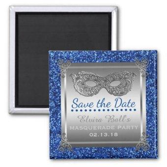 Masquerade Costume Party Blue Silver Save the Date Magnet