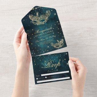 Masquerade mask chic gold glitter quinceanera teal all in one invitation