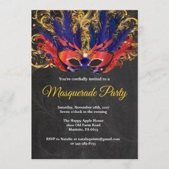 Masquerade Party Magical Night Red Gold Blue Invitation