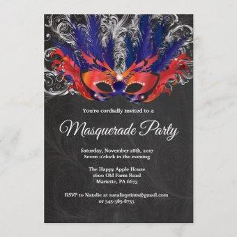 Masquerade Party Magical Night Red Silver Blue Invitation