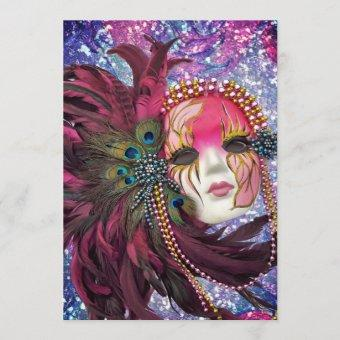 Masquerade Party - New Year's Eve - Quinceanera Invitation