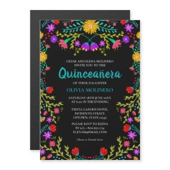 Mexican Fiesta Floral Black Quinceanera Party Magnetic Invitation