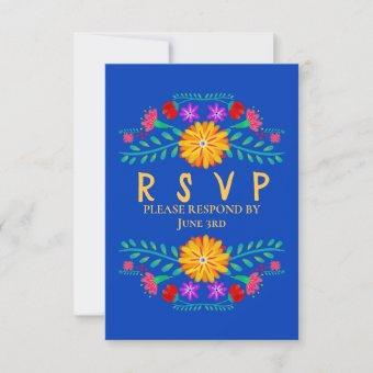 Mexican Fiesta Flowers Royal Blue Quinceanera RSVP Card