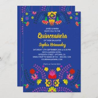 Mexican Fiesta Party Flowers Blue Quinceanera Invitation