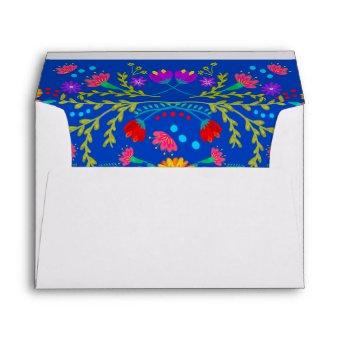 Mexican Flowers and Papel Picado Return Address Envelope
