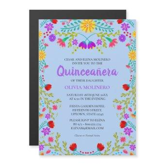 Mexican Flowers Light Blue Quinceanera Birthday Magnetic Invitation